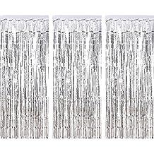 3 csomag fémes tinsel függönyök, fólia Fringe Shimmer függöny ajtó Ablak díszítése születésnapi esküvő