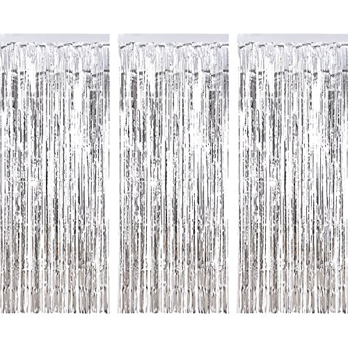 3 Pack Metallic Shimmering Tinsel Curtains.