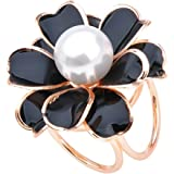 Perla Sciarpa Del Fiore 3-anello Moda Gioielli Delle Donne Spille Fibbia Clip Di Anello