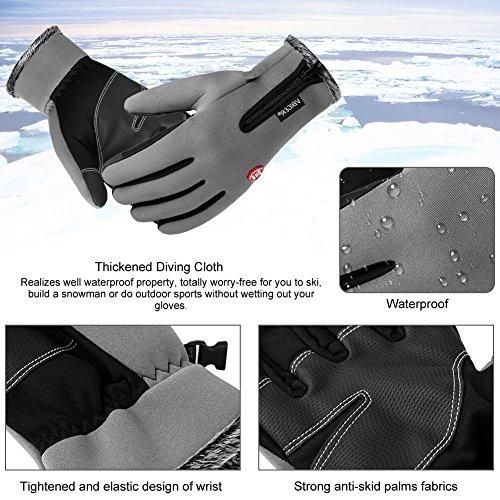 Vbiger Wasserdicht Winterhandschuhe Wasserdicht Fahrradhandschuhe Sporthandschuhe Warme Handschuhe Winter Handschuhe Outdoor Handschuhe mit dickem Fleecefutter - 6