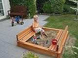 Promadino Sandkasten Modell Donald 1,40 x 1,40 m imprägniertes Holz Gartenspielzeug