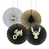 SUNBEAUTY Weihnachten Papier Rosetten Deko Schwarz & Gold Elch Fächer Set für Weihnachtsfeier