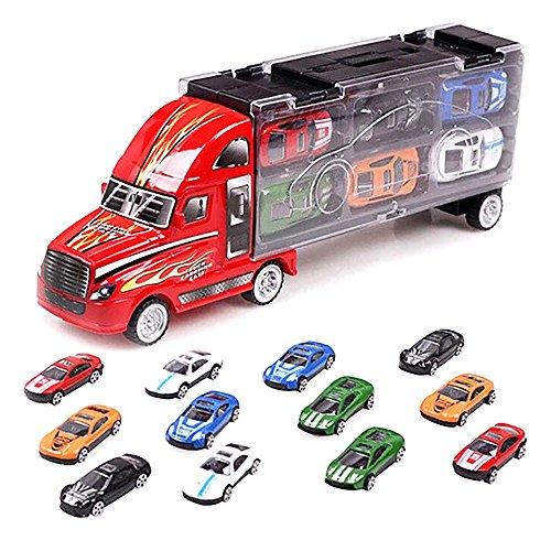 Auto Camion Voiture Sacoche + 12 Voitures de Courses Modèle de Simulation Meilleur Noël Cadeau