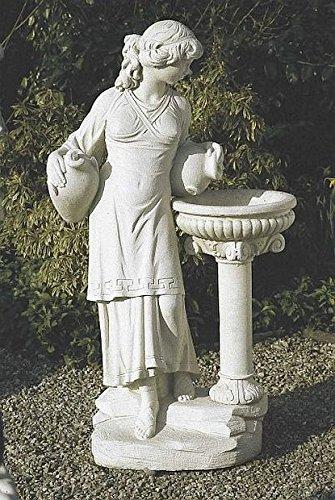 Frau mit Schale auf Säule, H 143, Steinfigur, Gartenfigur Farbe hellgrau