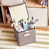 EZOWare 4-Pack Aufbewahrungsbox, 4-Pack Aufbewahrungsbox inkl. Deckel, Cube Aufbewahrungskorb Ordnungsystem Sauraum Boxen Körbe Kisten (Grau) - 25x25 cm - 8