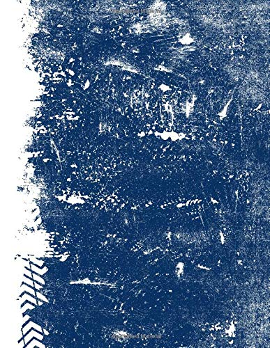 Dark Blue And White: (8.5x11 Dot Grid) Blank Journal Grunge School Color Notebook por Belle Journals