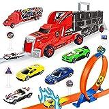 MaanZys Ejection Schiene Container LKW Spielzeug tragbare Container LKW Legierung Rail Car Trägheit Modell Spielzeug,Rot -