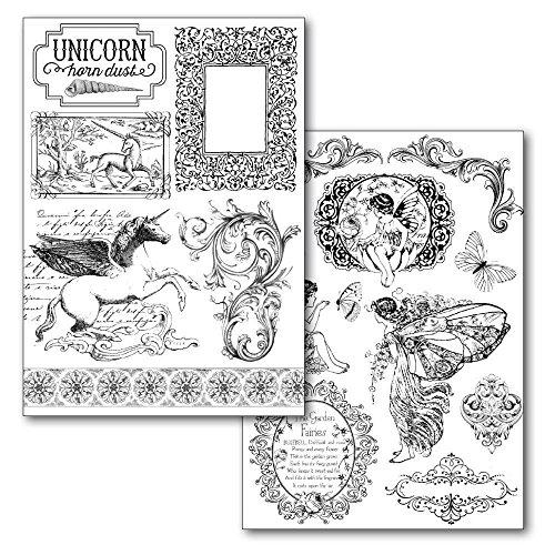 Stamperia Transfer-Papier Unicorn und Feen 2 Stück Einhorn romantisch DIY Transfer-Medium