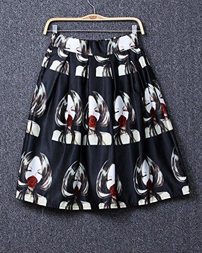 Moollyfox Imprimée Personnes Modèle Midi A-line Pli Patineuse Mode Style Jupe Noir