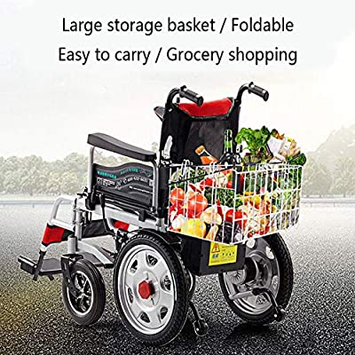 MENUDOWN Electric Wheelchair,Electric Folding Wheelchair Lightweight Full Intelligent Powerchair With EASB Brake Assist System Not Slip And Li-ion Battery Drive With Electric Power Or Use As Manual