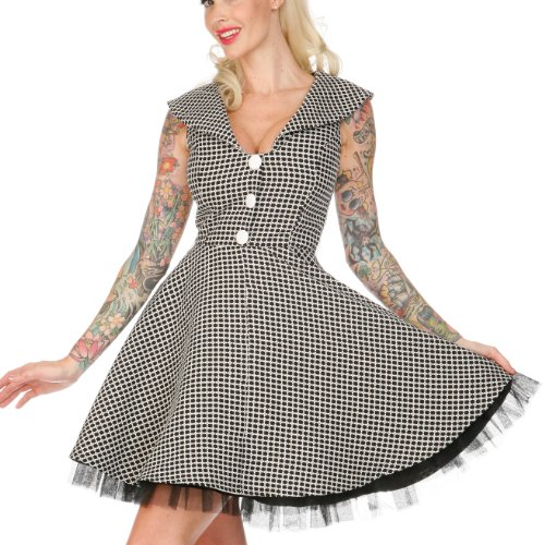 Voodoo Vixen Kleid LUCKY CLOVER DRA2128 black-white XL -