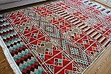 Damaskunst 200 cm x 300 cm,Rot,Kelim Orient,Wand Teppich,Carpet, Rug, Waschbar, Kunstfaser Chenille aus Polyester, 200 x 300 cm