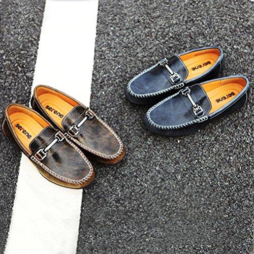 SERENE Herrenschuhe Slip auf Deck Schuhe Modische Loafer Mokassin Schuhe Schuhe Leder Outdoor Casual Belüftung Leichtgewicht leicht zu Fuß Braun
