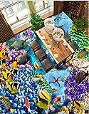 Weaeo 3D-Bodenbeläge Bunte Unterwasserwelt 3D Stock Schlafzimmer Badezimmer 3D Malerei Tapeten Pvc-Boden Wallpaper 120 X 100 Cm