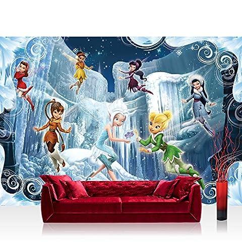 Fototapete 254x184 cm PREMIUM Wand Foto Tapete Wand Bild Papiertapete - Disney Tapete Disney - Tinkerbell Kindertapete Cartoon Feen Schnee Eiszapfen blau - no. (Disney Tinkerbell Licht)