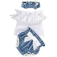 Borlai Lot de 3 barboteuses en coton pour bébé fille de 0 à 24 mois