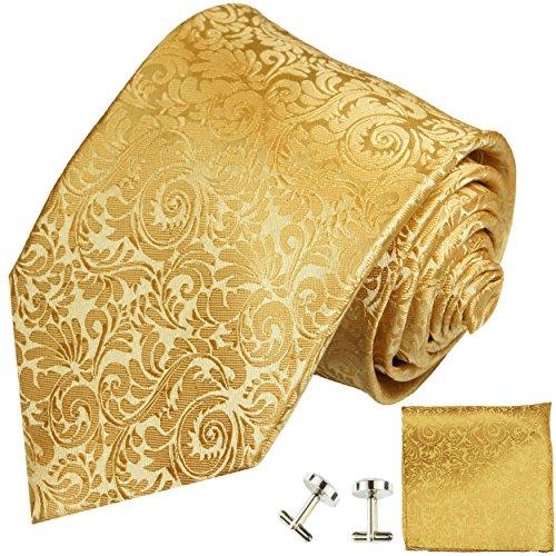 Paul Malone Krawatten Set 3tlg 100% Seide gold barock (Schmale Krawatte Normallänge 150cm)