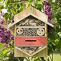 Relaxdays Insektenhotel sechseckige Nisthilfe für Bienen, Marienkäfer, Garten, Balkon, HxBxT: 33,5 x 28,5 x 10 cm, natur von Relaxdays auf Du und dein Garten
