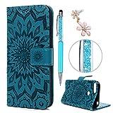 Huawei Y6 2018 / Huawei Honor 7A Hülle Case, Filp PU Leder Wallet Handyhülle Flipcase : Bookstyle Sonnenblume Tasche Schutzhülle in Blau + Pen + Plug