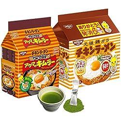 Nissin Chicken Noodle 5pcs Spicy Chicken Noodle 3pcs Japanese Instant Ramen and Matcha Drink set (Total 8pcs)