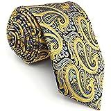 Shlax&Wing La Moda Clásico Hombre Seda Corbatas Para Amarillo Cachemir Extra largo