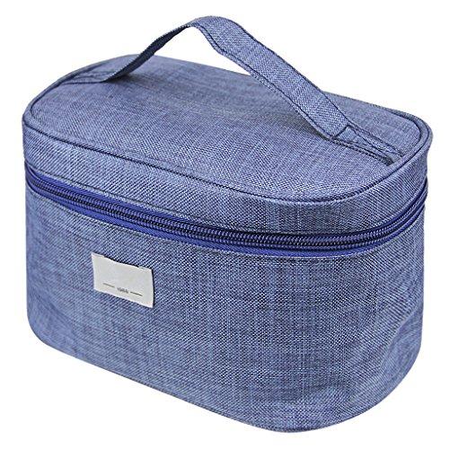 Bao Core Portable Trousse de Toilette de bijoux Zippé Cylindrique Grande Capacité Sac Cosmétique Sac à Main Pour Voyage En Tissu Polyester Bleu Foncé