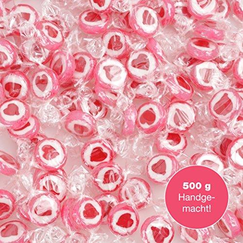 500 g Rocks Herz-Bonbons - süße Tisch-Deko zu Hochzeit Taufe Valentinstag Muttertag Kommunion - Süßigkeiten Großpackung zum Naschen - Rot