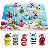 Aideal Magnetisches Hölzernes Fischen-Spiel Holzspielzeug Hand-Auge-Koordination Lernspielzeug Magnet-Angelspiel Tischspiel für Kinder 3-6 Jahre (Fisch)
