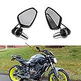 Motorrad Spiegel Lenkerendenspiegel Lenkerenden Aluminium schwarz Stiel verstellbar für Honda Suzuki Chopper Scooter