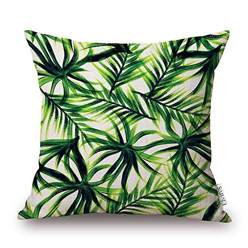 Elviros Dekorativ Baumwoll Leinen Mix Kissenbezug 45 x 45cm - Tropische Blätter