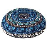 ganesham Handi Crafts de Indian Tapestry Round Floor Pillow, indien Pouf, Decorative Mandala Cushion Cover, Elephant Pillow, Boho Pillow, fabriqué à la main Round Mandala Seating Pouf Ottoman
