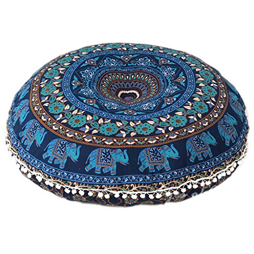 ganesham handicrafts- tapiz redondo suelo almohada, Indian puf infantil, decorativo almohada cojín Mandala, elefante funda de almohada, Boho, hecho a mano redondo Mandala asiento puf Otomano