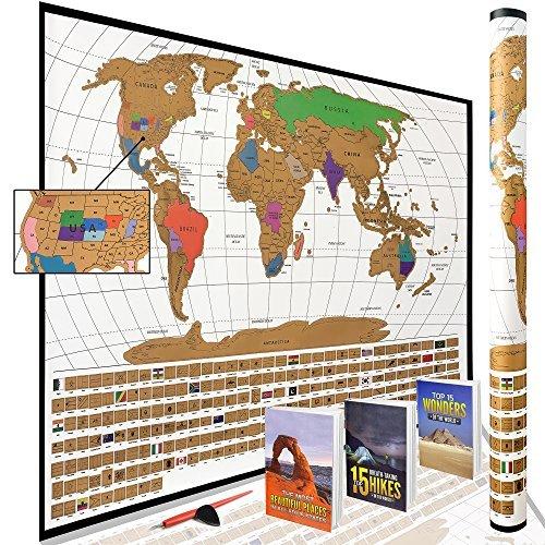 Scratch Off Reise Weltkarte: 210Länder + USA und australischen Staaten + kanadischen Provinzen, 43,2x 61cm Full Color, mit scratch Pen & Gitarre Plektrum in Geschenk bereit Verpackung Tube von Traveler 's Tracker