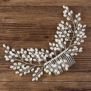 AILEYOU Perlenhaarkämme, Stirnbänder Für Frauen Silber Braut Haarkamm Hochzeit Haarschmuck Perlenkopfschmuck Weiblicher Haarschmuck