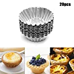 YOMYM Egg Tart Aluminum Mold with Stretch Marks, for 20 Piece Piece Egg, Aluminum Cookies, Baking Tool Baking Cups...