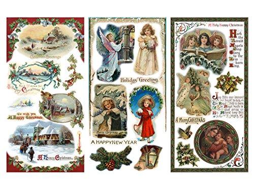 Papier fur Scrapbooking und Decoupage (12 blatt 20x30cm) Weihnachten Christmas Eve Angels Santa FLONZ Vintage