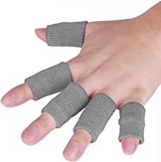 JoyFit - 5 pcs Finger Support, Sleeve, Protector with Soft Comfortable Cushion Pressure for Cricket, Volleyball, Gym, Basketball, Badminton, Baseball, Table Tennis, Boating, Biking, Boating, Cycling