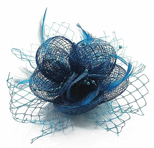 LeahWard Qualität Herrlich Feather and Mesh Blumendruck Fascinator On Clip Racing Festival Party CWH00131 Teal/Blau