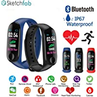 Sketchfab Smart Band Fitness Tracker Watch Heart Rate with Activity Tracker Waterproof Body Functions Like Steps Counter, Calorie Counter, Blood Pressure, Heart Rate Monitor LED Touchscreen