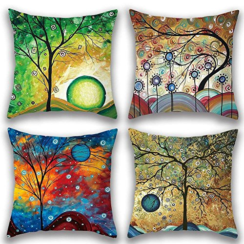 Gspirit 4 Pack Maravilloso Árbol Algodón Lino Throw Pillow Case Funda de Almohada para Cojín 45x45...