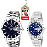 Fogg Stainless Steel Day and Date Blue Dial Analog Mens Watch  2038 BL