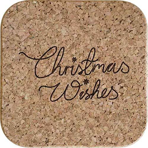 Azeeda 4 x 'Christmas Wishes' Posavasos de Corcho Cuadrados...