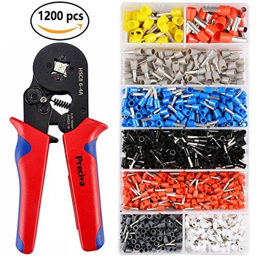 Crimpzangen Aderendhülsen Set, Preciva Aderendhülsenzange mit 1200 stück Kabelschuhe Tool Kit 0,25 - 10,00 qmm Test