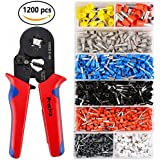 Crimper Plier Set, Preciva 0.5-10mm2 Self-adjustable Ratchet Wire Crimping Tools with 1200 Wire Terminal Crimp Connector Insulated and Uninsulated Wire End Ferrules