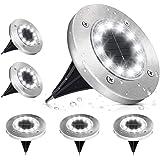 Lampe Solaire Extérieur, Lumière Solaire Jardin 12 LEDs Au Sol Eclairage 6000K Blanc Froid Etanche IP65 Lampe Solaire Spot En