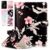 Housse universelle coque tablette 8 pouces, E-Unicorn Housse Étui Cuir Coque 8 Zoll Fleur Marbre Noir Motif Design Portefeuille PU Antichoc pour Fire HD 8 2016/iPad Mini 1 2 3 4 / Samsung Galaxy tab A / 3 / S2 / Note 8.0/ Huawei MediaPad M1 M2 T3 8.0 / Asus ZenPad Z380C Z380KL S 8.0 Z580C/Lenovo Yoga Tab 3 A8-50 Tab 2 A8-50/Lenovo Tab 4 8/Lenovo Tab 4 8 Plus/Acer Iconia One 8/Acer Iconia Tab 8 compatibile con tablet 7,5-8,5 pouces Tablette Case Smart Cover