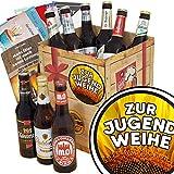 Zur Jugendweihe | Geschenk Box Bier | Bierbox DDR | Zur Jugendweihe | Bier Paket | Jugendweihe ideen | INKL 3 Urkunden, 6 Geschenkkarten + Umschläge, Bier Bewertungsbogen