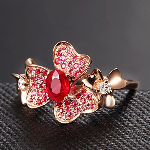 Frau Blumen Ein Farbiger Edelstein-Ringe Rose Vergoldete Schmuck,RoseGold-all (Ringe Farbige Edelstein-hochzeit)