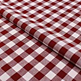 Hans-Textil-Shop Stoff Meterware Karo 15x15 mm Bordeaux Rot