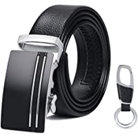 flintronic Men's Leather Belt, Automatic Buckle High Quality Leather Ratchet Belt 3.5cm * 130cm (Keychain & Gift Box Include)